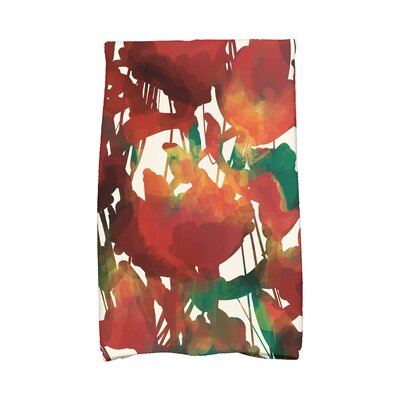Kam Abstract Floral Print Hand Towel Color: Red
