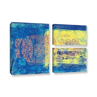 Blue with Stencils 3 Piece Painting Print on Gallery-Wrapped Canvas Flag Set WDMG8986 34619404