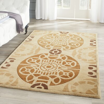 Dorothy Hand-Tufted Wool Gold/Light Brown Indoor/Outdoor Area Rug Rug Size: Rectangle 3 x 5