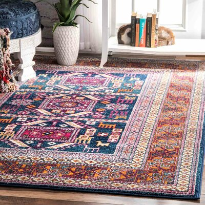 Delilah Navy/Brown  Area Rug Rug Size: 8 x 10