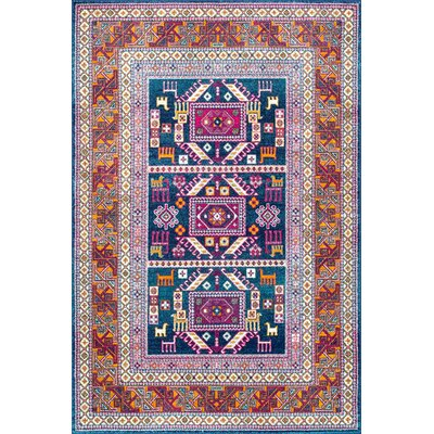 Delilah Navy/Brown  Area Rug Rug Size: Square 5