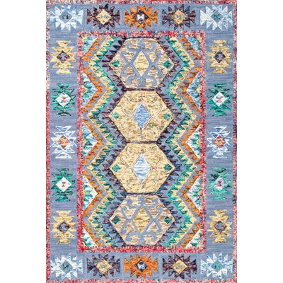 Delphine Hand-Tufted Blue/Yellow Area Rug Rug Size: 5 x 8