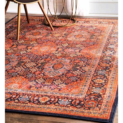 Freya Orange Area Rug Rug Size: 53 x 82