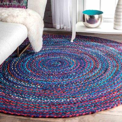 Josephine Hand-Braided Blue/Purple Area Rug Rug Size: Round 6
