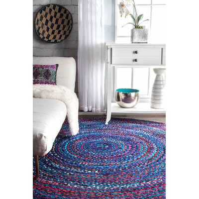Josephine Hand-Braided Blue/Purple Area Rug Rug Size: Round 8