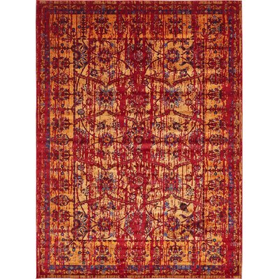 Figueroa Gold/Red Area Rug Rug Size: Rectangle 7 x 10