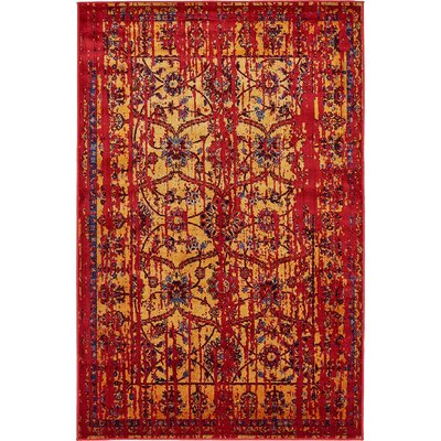 Figueroa Gold/Red Area Rug Rug Size: 9 x 12