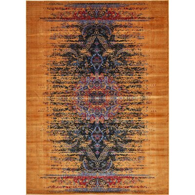 Jancis Navy Blue/Orange Area Rug Rug Size: 5 x 8