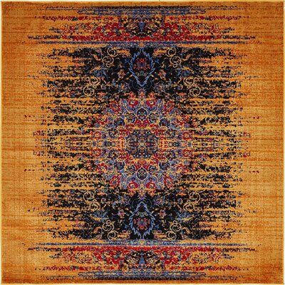 Jancis Navy Blue/Orange Area Rug Rug Size: Square 6