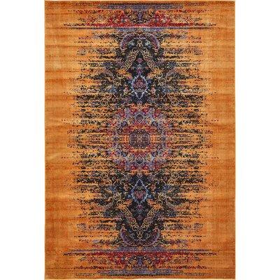 Jancis Navy Blue/Orange Area Rug Rug Size: 9 x 12
