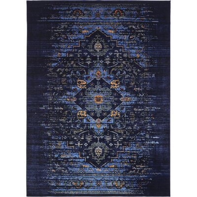 Figueroa Navy Blue/Black Area Rug Rug Size: 5 x 8