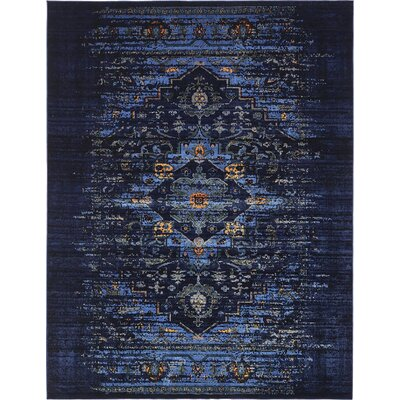 Figueroa Navy Blue/Black Area Rug Rug Size: 10 x 13