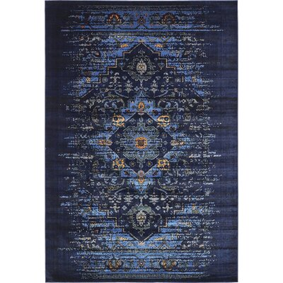 Figueroa Navy Blue/Black Area Rug Rug Size: 9 x 12