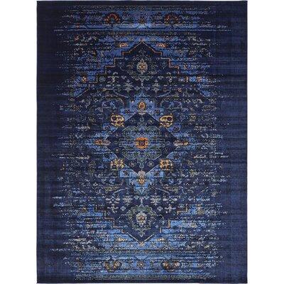 Figueroa Navy Blue/Black Area Rug Rug Size: 7 x 10