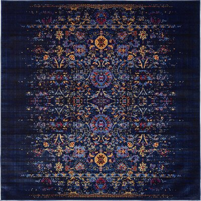 Figueroa Navy Blue/Red Area Rug Rug Size: Square 6