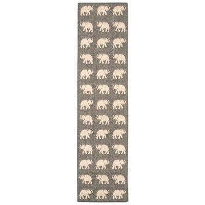 Slimane Silver Elephants Indoor/Outdoor Area Rug Rug Size: Runner 111 x 76