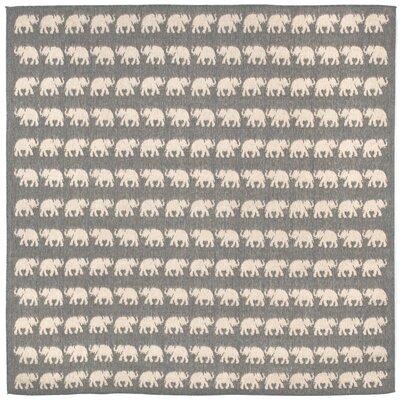 Slimane Silver Elephants Indoor/Outdoor Area Rug Rug Size: Square 710
