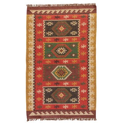 Addre Hand-Woven Red/Yellow Area Rug