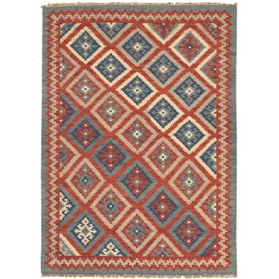 Abelia Hand-Woven Red/Blue Area Rug
