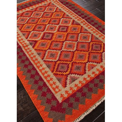 Rubina Hand-Woven Orange/Red Area Rug Rug Size: Rectangle 2 x 3