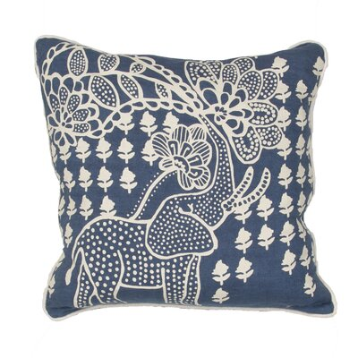 Purti Tribal Elephant Linen Throw Pillow