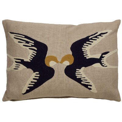 Purti Kissing Birds Pattern Rectangular Cotton Lumbar Pillow