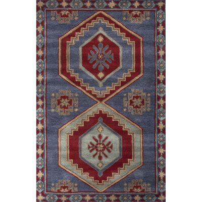 Galatea Hand-Tufted Blue/Red Area Rug Rug Size: 2' x 3'