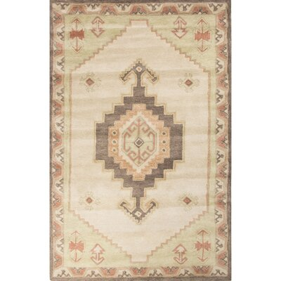 Galatea Hand-Tufted Ivory/Green Area Rug Rug Size: 2 x 3