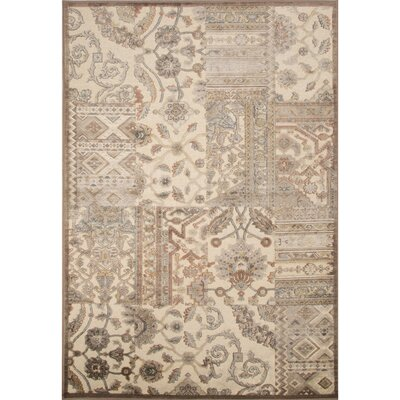 Quinn Rayon and Chenille Machine Made Alabaster Gleam/Taupe Area Rug Rug Size: 53 x 78