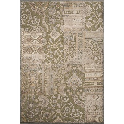 Quinn Rayon and Chenille Machine Made Turf Green Area Rug Rug Size: 92 x 126