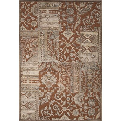 Quinn Rayon and Chenille Machine Made Brown Area Rug Rug Size: 53 x 78