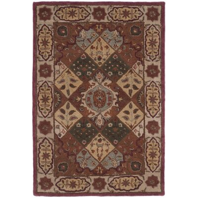 Hesperange Hand-Tufted Rust/Ivory Area Rug Rug Size: Rectangle 4 x 6