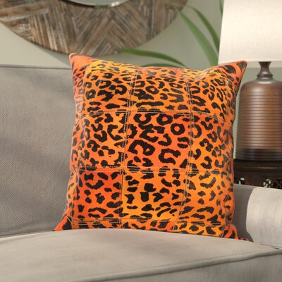 Khenifra Natural Leather Hide Throw Pillow Color: Orange