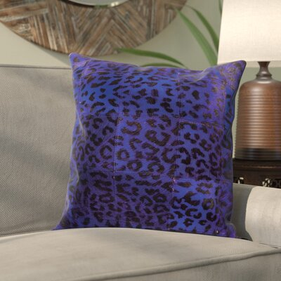 Betsy Natural Leather Hide Throw Pillow Color: Purple