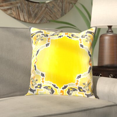 Alois 100% Silk Square Throw Pillow Cover Size: 18 H x 18 W x 0.25 D, Color: YellowBlack