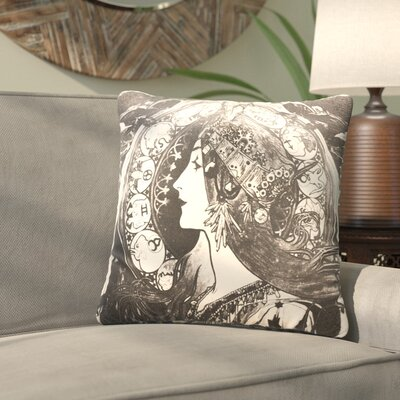 Junaid Santora Art Nouveau Zodiac Cotton Throw Pillow Color: Black