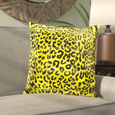 Betsy Natural Leather Hide Throw Pillow Color: Yellow
