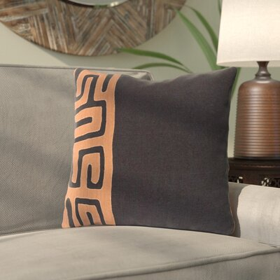 Alona Linen Throw Pillow Size: 20 H x 20 W x 4 D, Color: Black/Rust