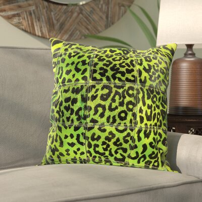 Betsy Natural Leather Hide Throw Pillow Color: Green