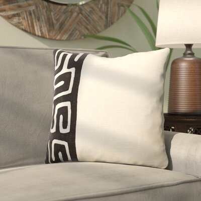 Alona Linen Throw Pillow Size: 18 H x 18 W x 4 D, Color: Black/Ivory