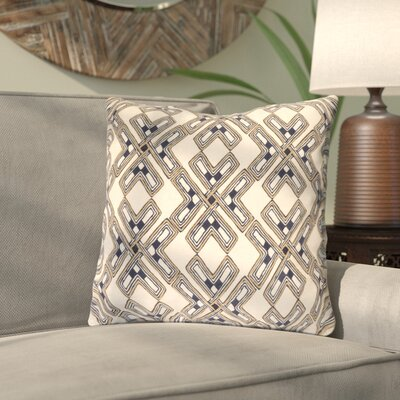 Andre Square Throw Pillow Size: 22 H x 22 W x 4 D, Color: Cream/Navy/Tan