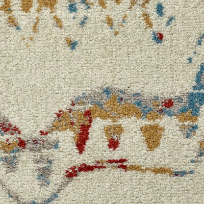 Accomac Cream/Blue Area Rug Rug Size: 79 x 95