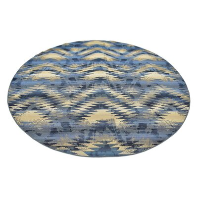 Jamie Blue Abstract Indoor/Outdoor Area Rug Rug Size: Round 8