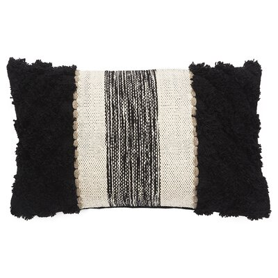 Sophia Cotton Lumbar Pillow Color: White Swan/Caviar