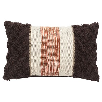 Sophia Cotton Lumbar Pillow Color: Tobacco Brown/Antique White