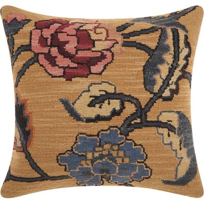 Riddle Rustic Floral Wool Throw Pillow