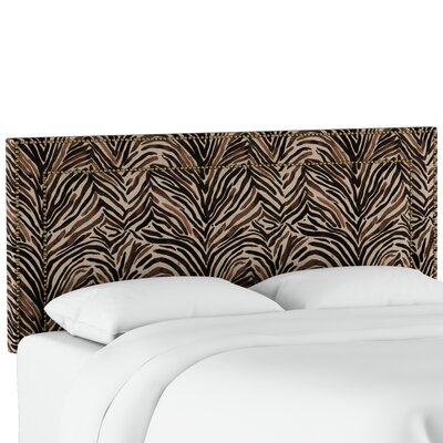Genevie Nail Button Border Washed Zebra Upholstered Panel Headboard Size: Twin