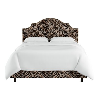 Genevie Nail Button Notched Washed Zebra Upholstered Panel Bed Size: Twin