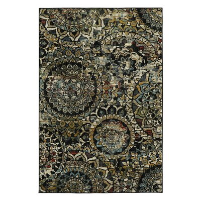 Delora Stain Glass Black/Green Area Rug