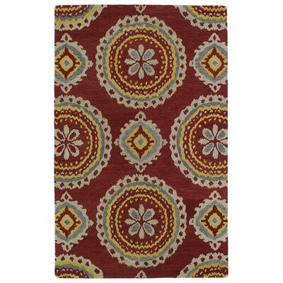 Kasa Red Area Rug Rug Size: 36 x 56